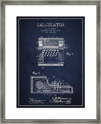 Calculator Patent From 1900 - Navy Blue Framed Print