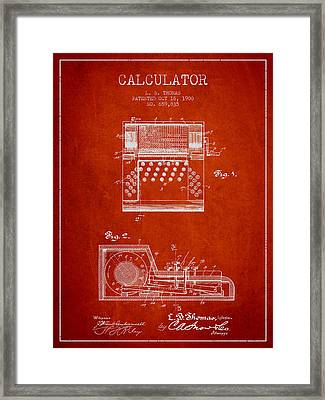 Calculator Patent From 1900 - Red Framed Print