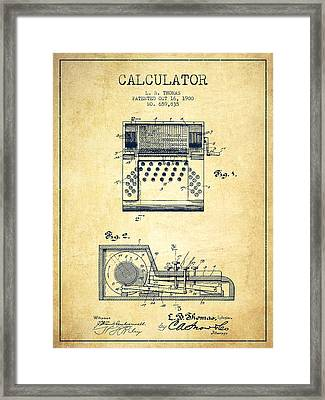 Calculator Patent From 1900 - Vintage Framed Print