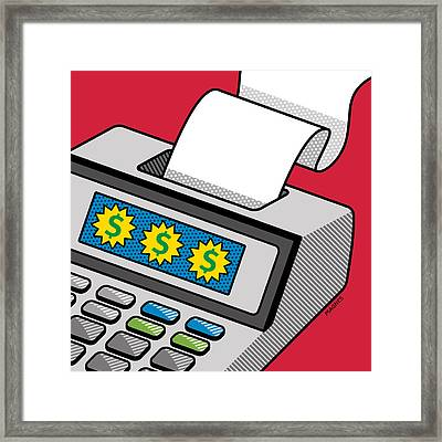Framed Print featuring the digital art Printing Calculator by Ron Magnes