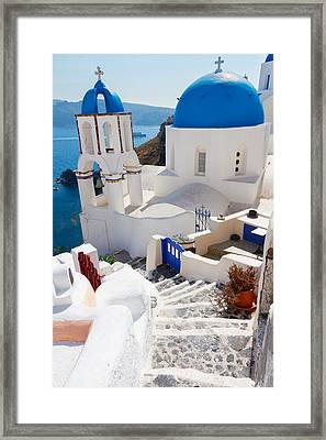 Caldera With Stairs And Church At Santorini Framed Print