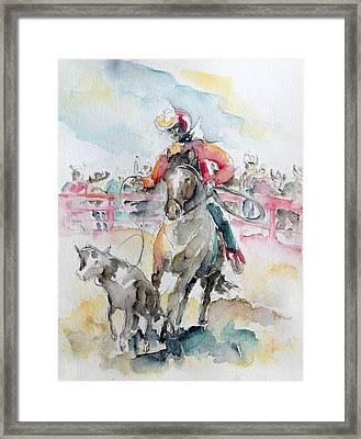 Calf Roping Framed Print by Barbara Pommerenke