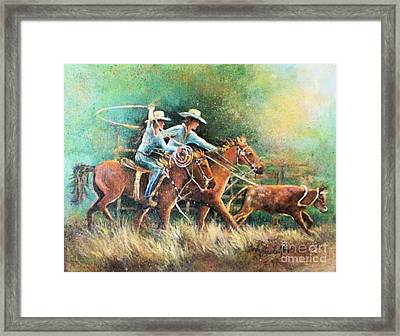 Framed Print featuring the painting Calf Roping by Linda Shackelford