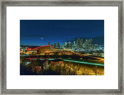 Framed Print featuring the photograph Calgary At Twilight by Josef Pittner