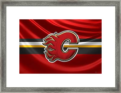 Calgary Flames - 3 D Badge Over Silk Flag Framed Print by Serge Averbukh