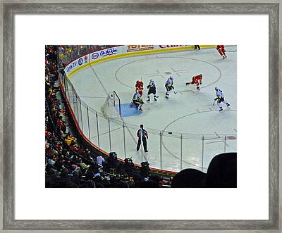 Calgary Flames Home Opener Framed Print by Al Bourassa