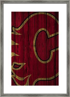 Calgary Flames Wood Fence Framed Print by Joe Hamilton