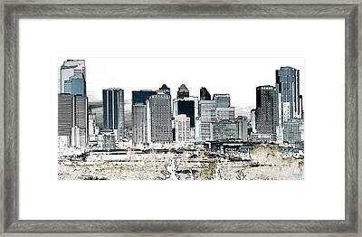 Framed Print featuring the digital art Calgary Skyline 1 by Stuart Turnbull