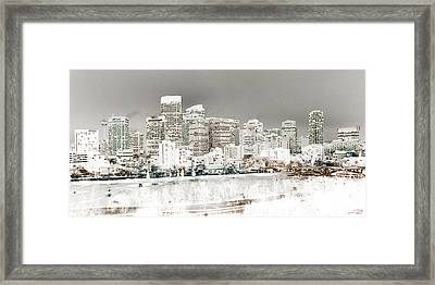 Framed Print featuring the digital art Calgary Skyline 3 by Stuart Turnbull