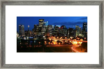 Calgary Skyline At Night Framed Print