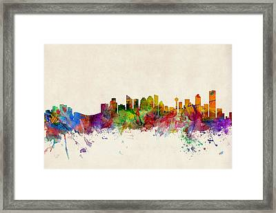 Calgary Skyline Framed Print by Michael Tompsett