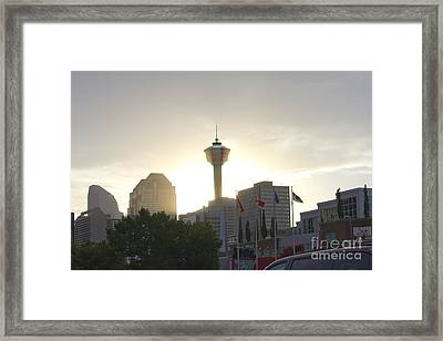Calgary Tower Lit By Sun Framed Print by Donna Munro