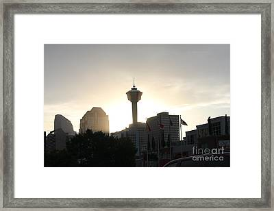 Calgary Tower Lit By Sun V2 Framed Print by Donna Munro