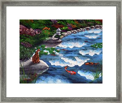 Calico Cat At Koi Pond Framed Print by Laura Iverson