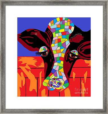 Calico Cow Framed Print