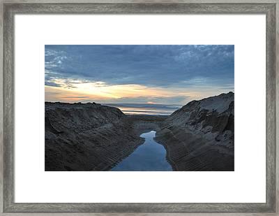 California Beach Stream At Sunset - Alt View Framed Print