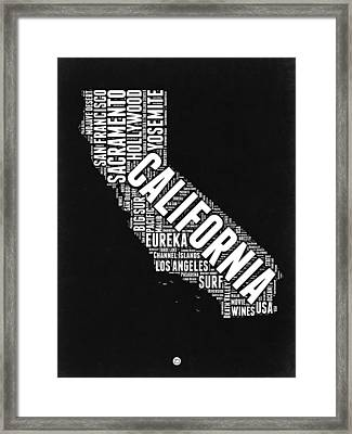 California Black And White Word Cloud Map Framed Print