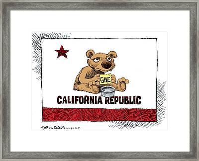 California Budget Begging Framed Print
