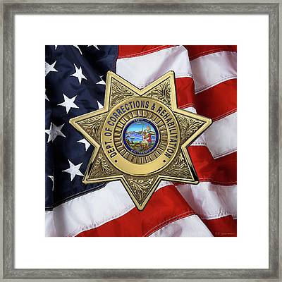 California Department Of Corrections And Rehabilitation - C D C R  Officer Badge Over American Flag Framed Print by Serge Averbukh