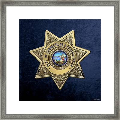 California Department Of Corrections And Rehabilitation - C D C R  Officer Badge Over Blue Velvet Framed Print by Serge Averbukh
