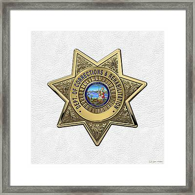 California Department Of Corrections And Rehabilitation - C D C R  Officer Badge Over White Leather Framed Print by Serge Averbukh