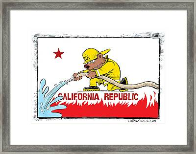 California Firefighter Flag Framed Print