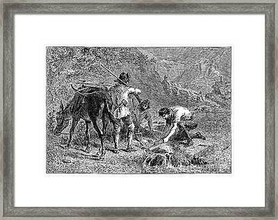 California: Gold Miners Framed Print by Granger