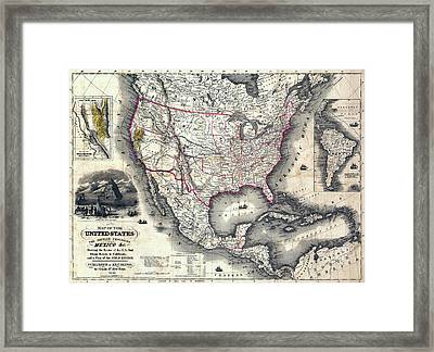California Gold Rush Map Of The United States 1849 Framed Print by Daniel Hagerman