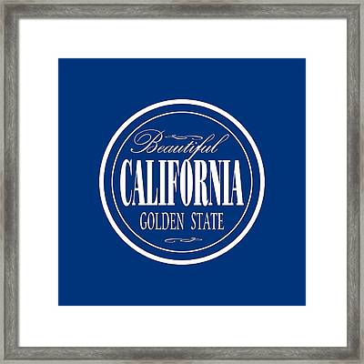 California Golden State - Tshirt Design Framed Print by Art America Gallery Peter Potter