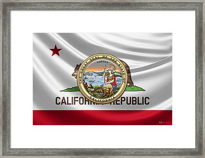 California Great Seal Over State Flag Framed Print by Serge Averbukh