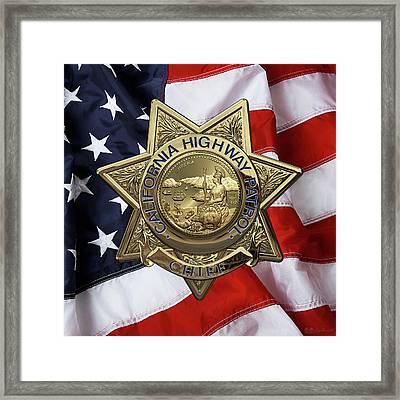 California Highway Patrol  -  C H P  Chief Badge Over American Flag Framed Print by Serge Averbukh