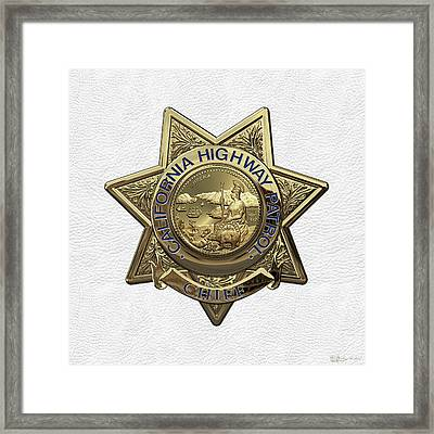 California Highway Patrol  -  C H P  Chief Badge Over White Leather Framed Print by Serge Averbukh