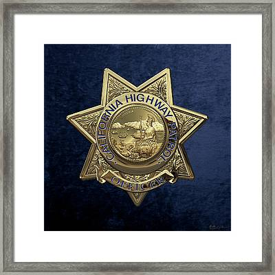 California Highway Patrol  -  C H P  Police Officer Badge Over Blue Velvet Framed Print by Serge Averbukh