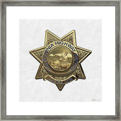 California Highway Patrol  -  C H P  Police Officer Badge Over White Leather Framed Print by Serge Averbukh