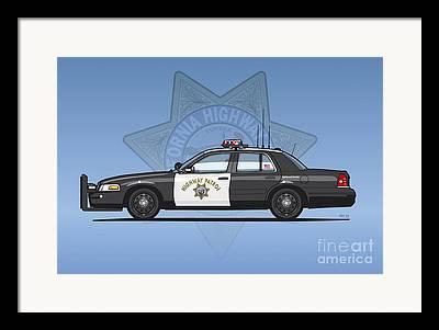 Police Cruiser Mixed Media Framed Prints