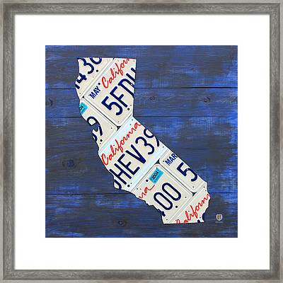 California License Plate Map On Blue Framed Print by Design Turnpike