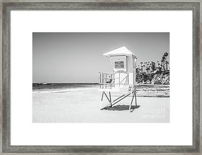 California Lifeguard Tower In Black And White Framed Print