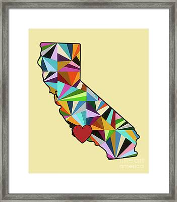 California Love Geometric Map Framed Print by Carla Bank