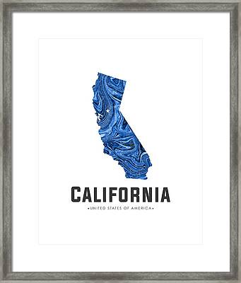 California Map Art Abstract In Blue Framed Print