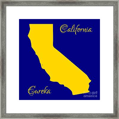 California Map With State Colors And Motto Framed Print by Rose Santuci-Sofranko