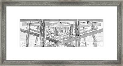 California Pier Panorama Photo In Black And White Framed Print by Paul Velgos