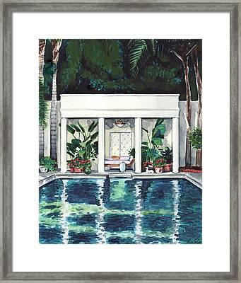 California Pool House Greek Revival Framed Print by Laura Row