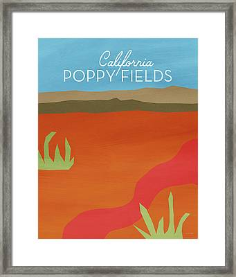 California Poppy Fields- Art By Linda Woods Framed Print