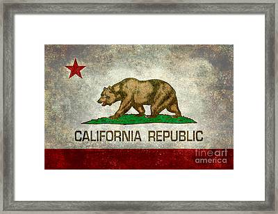 California Republic State Flag Retro Style Framed Print