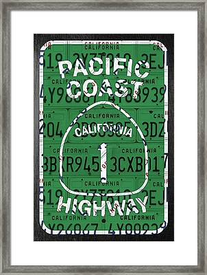 California Route 1 Pacific Coast Highway Sign Recycled Vintage License Plate Art Framed Print