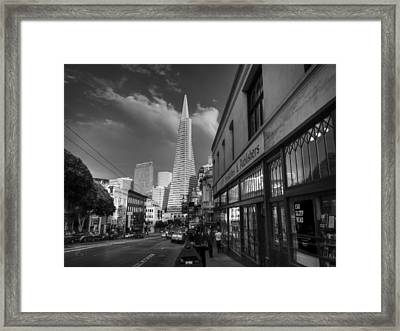 Framed Print featuring the photograph California - San Francisco 009 Bw by Lance Vaughn