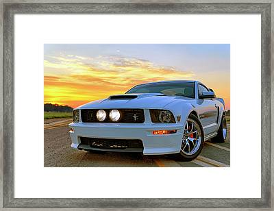 Framed Print featuring the photograph California Special Sunrise - Mustang - American Muscle Car by Jason Politte