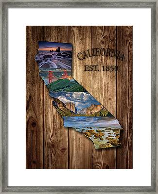 California State Map Collage Framed Print