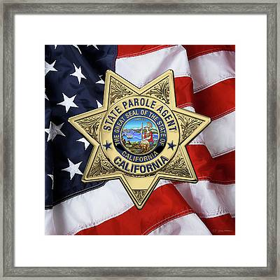 California State Parole Agent Badge Over American Flag Framed Print by Serge Averbukh