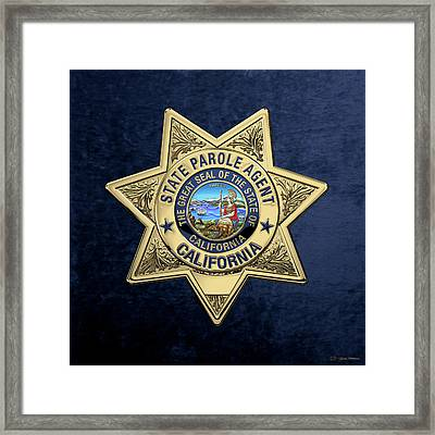 California State Parole Agent Badge Over Blue Velvet Framed Print by Serge Averbukh